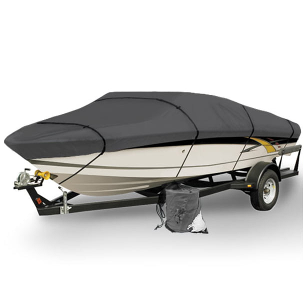 North East Harbor Gray Heavy Duty Waterproof Mooring Boat Cover Fits Length 22' 23' 24' Superior Trailerable 600 Denier V-Hull Fishing Aluminum Ski Boat Pro Bass Inboard Outboard 22ft to 24ft