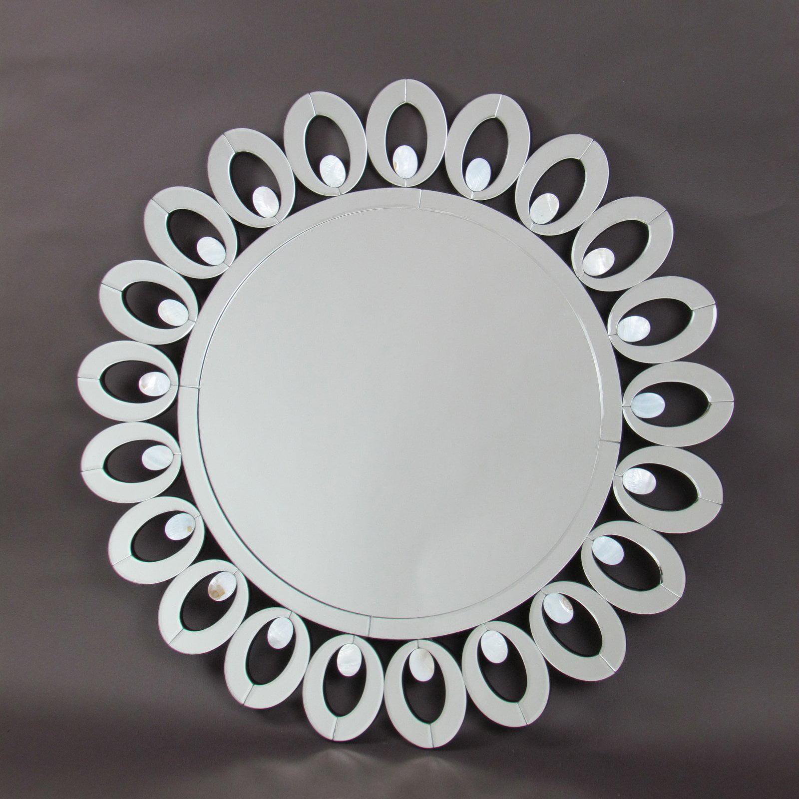 Wayborn Mother of Pearl Beveled Round Mirror by Wayborn