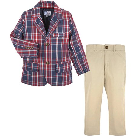 Little Boys Plaid Blazer Paired with Khaki Pants, Available in Size 4-7