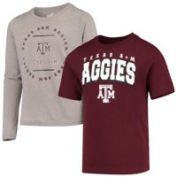 Texas A&M Aggies Youth Club Short Sleeve and Long Sleeve T-Shirt Combo Pack - Maroon/Heathered Gray