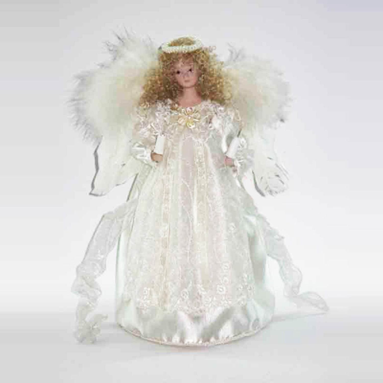 12 Lighted Ivory Angel With Halo Christmas Tree Topper Clear