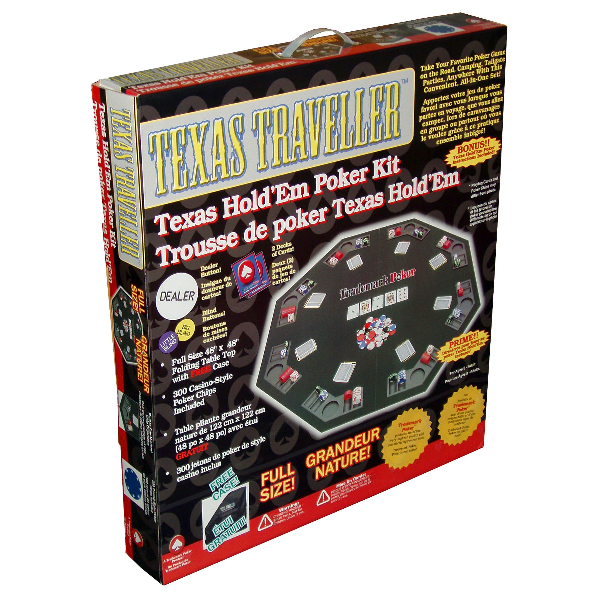 Poker Texas Traveller Table Top And 300 Chip Travel Set   Walmart.com