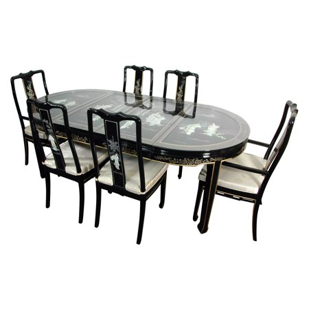Oriental Lacquer Dining Room Black Mother Pearl
