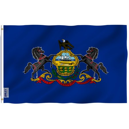 Pennsylvania Polyester Flag (ANLEY Fly Breeze 3x5 Foot Pennsylvania State Flag - Vivid Color and UV Fade Resistant - Canvas Header and Double Stitched - Pennsylvania PA Flags Polyester with Brass Grommets 3 X 5 Ft)