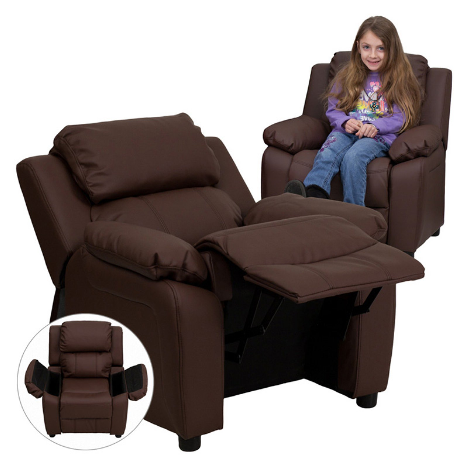 Flash Furniture Deluxe Heavily Padded Leather Kids Recliner with Storage Arms Brown by Flash Furniture