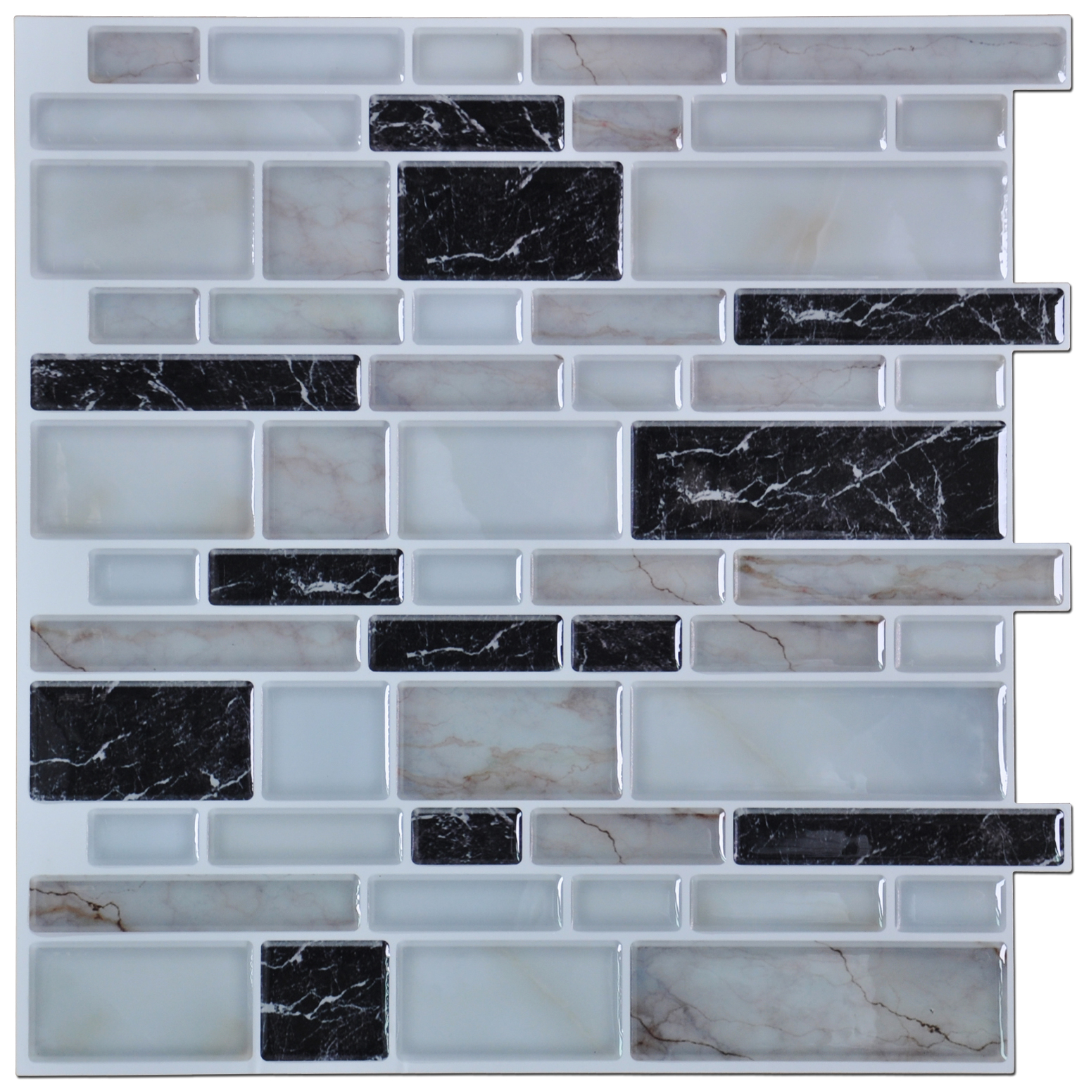"Peel and Stick Wall Tile for Kitchen Backsplash, 12""x12"" Gray(6 Tiles)"