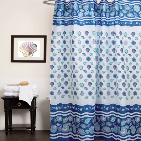 Sweet Home Collection South Beach Sea Shell Print Polyester Fabric Shower Curtain