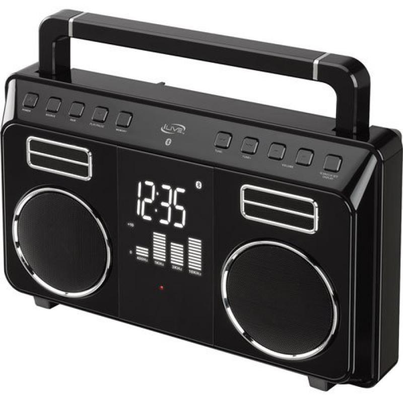 iLive Bluetooth Retro Portable Boombox with Digital FM Ra...