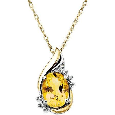 Duet Sterling Silver with 10kt Yellow Gold Oval Citrine and Diamond Accent Pendant