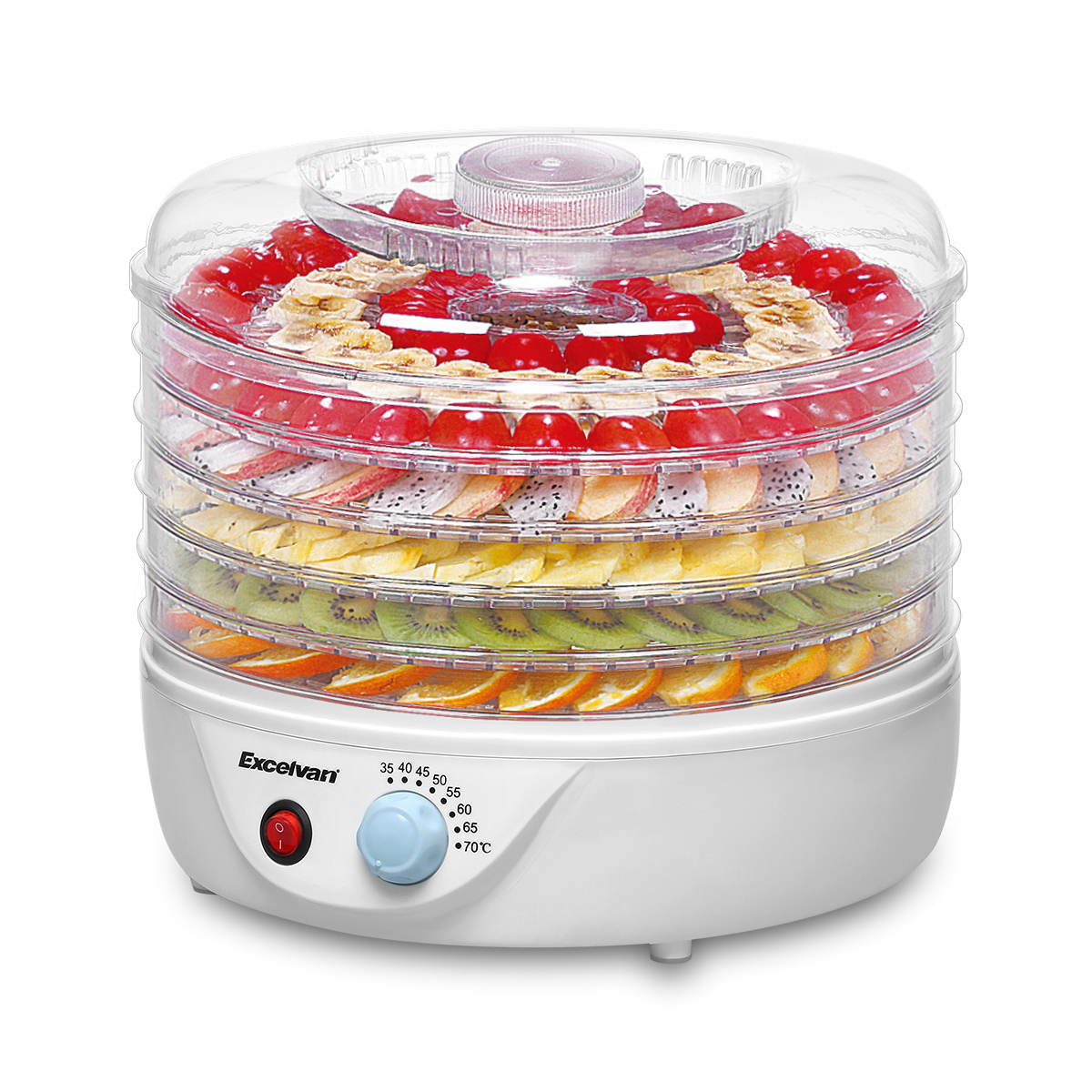 Excelvan Dehydrator for Food Fruit - Electric Food Saver Fruit Dehydrator Preserver Dry Fruit Dehydration Machine with 5 Stackable Tray