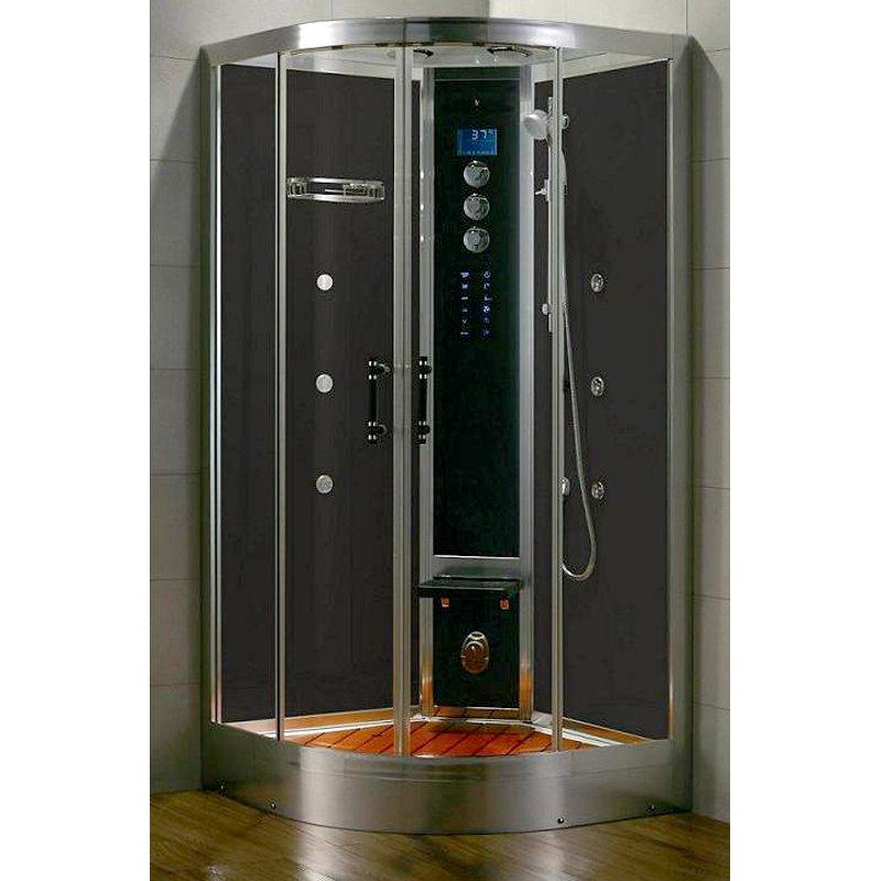 Steam Planet WS102 40W x 88H in. Black Tempered Glass Steam Shower Module