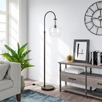 Evelyn&Zoe Verona Modern Farmhouse Metal Arc Floor Lamp, Black