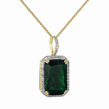 Solitaire Green Ruby Cz Pendant Iced Out 1 2   Mini Charm Lab Created Cubic Zirconias Free Necklace