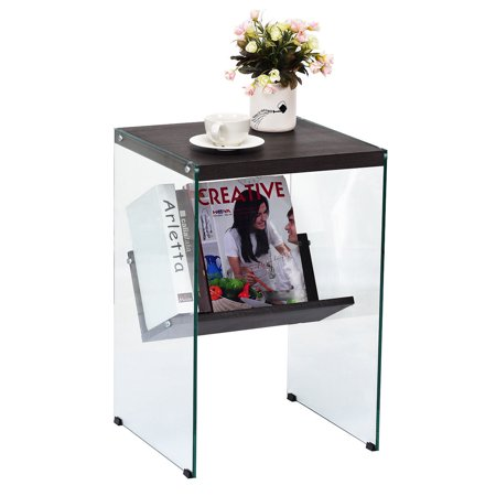 Costway Modern 2-Tier Soho Tempered Glass Sided End Accent Table Coffee Table Wood (Soho Glasses Shop)
