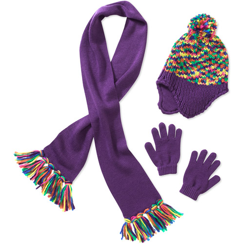 Faded Glory Girl's 3-piece Multi Purple Print Scarf, Hat and Glove Set
