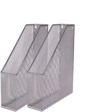 - Ybm Home Silver Mesh Steel Wall mount Hanging Desktop Magazine Document Letter File Holder 12 In. H x 10 In. L x 3 In. W 2 Pack