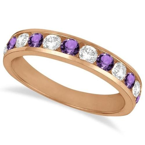 14k Gold n1 1/5ct Channel-Set Amethyst & Diamond Eternity Ring Band (G-H, SI1-SI2) 14k Rose Gold - Size 5