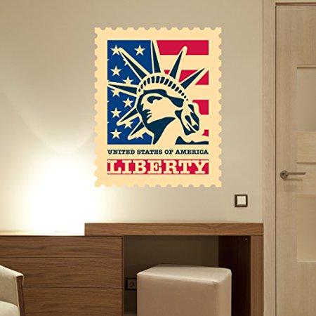 Liberty Stamp Wall Decal - Wall Sticker, Vinyl Wall Art, Home Decor, Wall Mural - SD3048 -