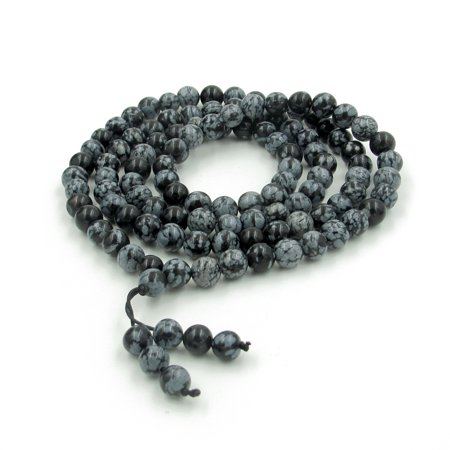 8mm 108 Snowflake Stone Tibetan Buddhist Prayer Beads Mala - Beaded Snowflakes