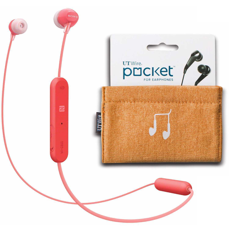 Sony WI-C300 Wireless In-Ear Headphones, Red (WIC300/R) with Earphone Case Pouch