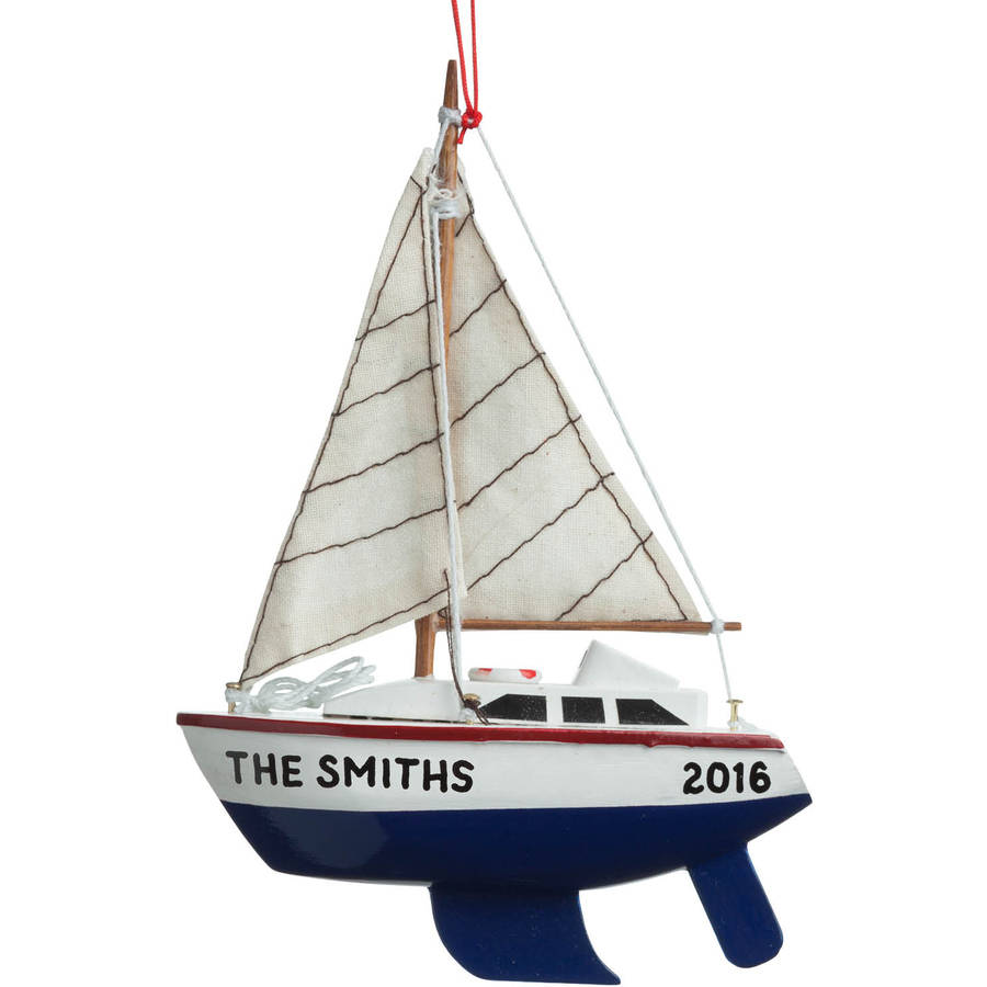 Personalized Christmas Ornament - Blue Sailboat