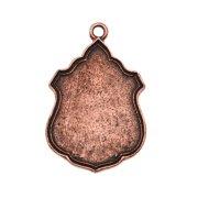 Nunn Design Antiqued Copper Plated Flat Tag Ornate Crest Pendant 17.5x26.5mm (1)