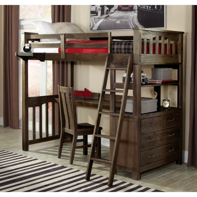 NE Kids Highlands Twin Loft Bed with Desk and Shelf in Espresso