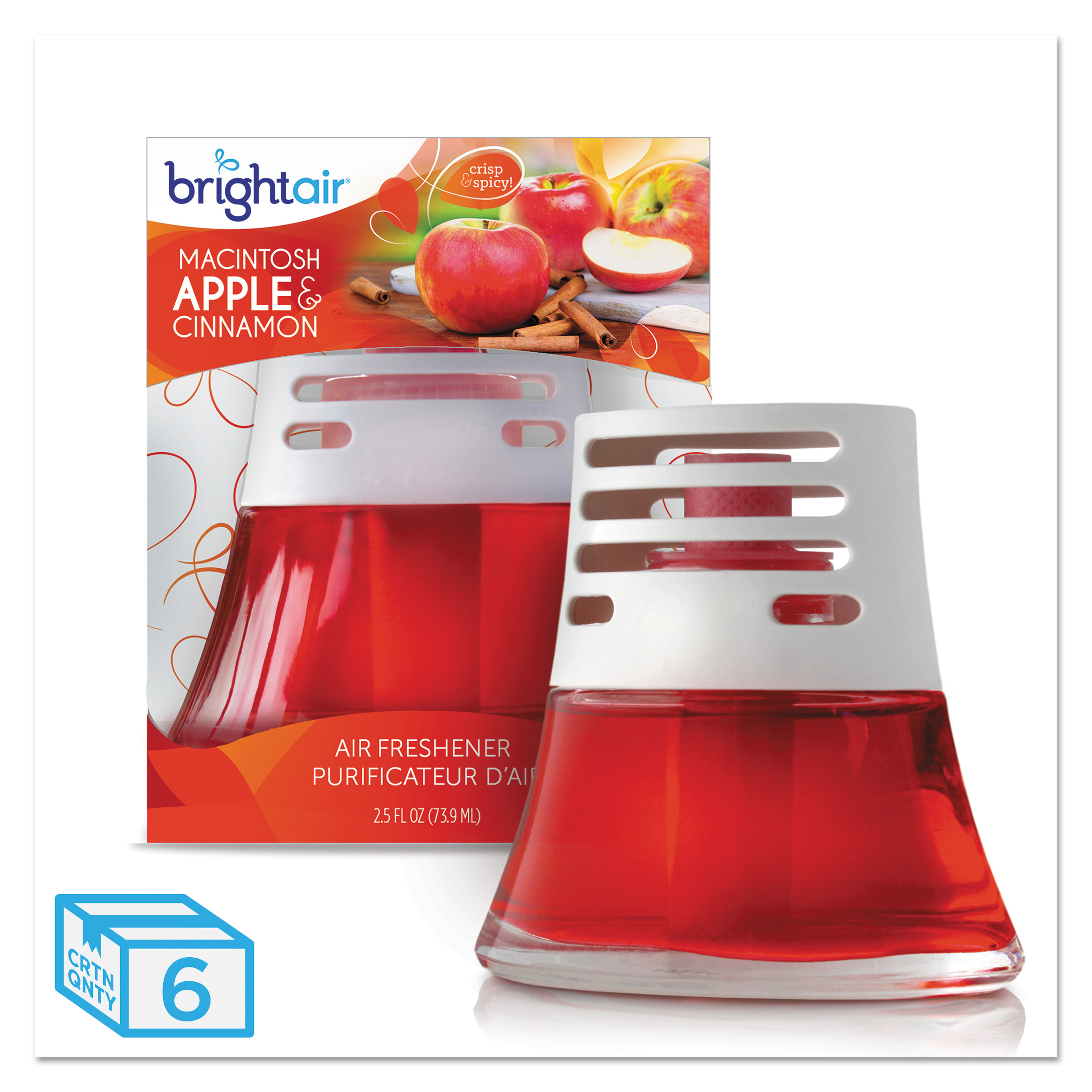 BRIGHT Air Scented Oil Air Freshener, Macintosh Apple and Cinnamon, Red, 2.5oz, 6/Carton