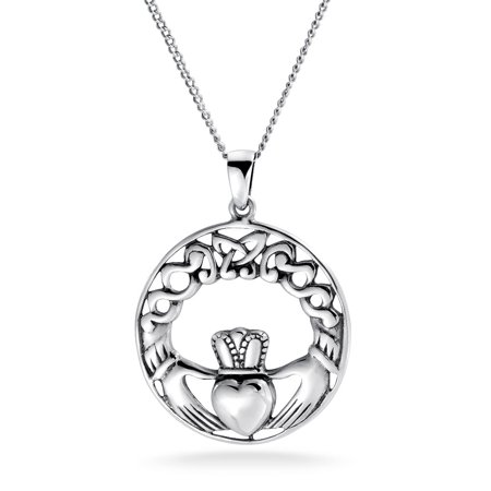 Celtic Knot Claddagh Irish Friendship Round Circle Pendant Necklace For Women 925 Sterling Silver 18 In - Friendship Circle