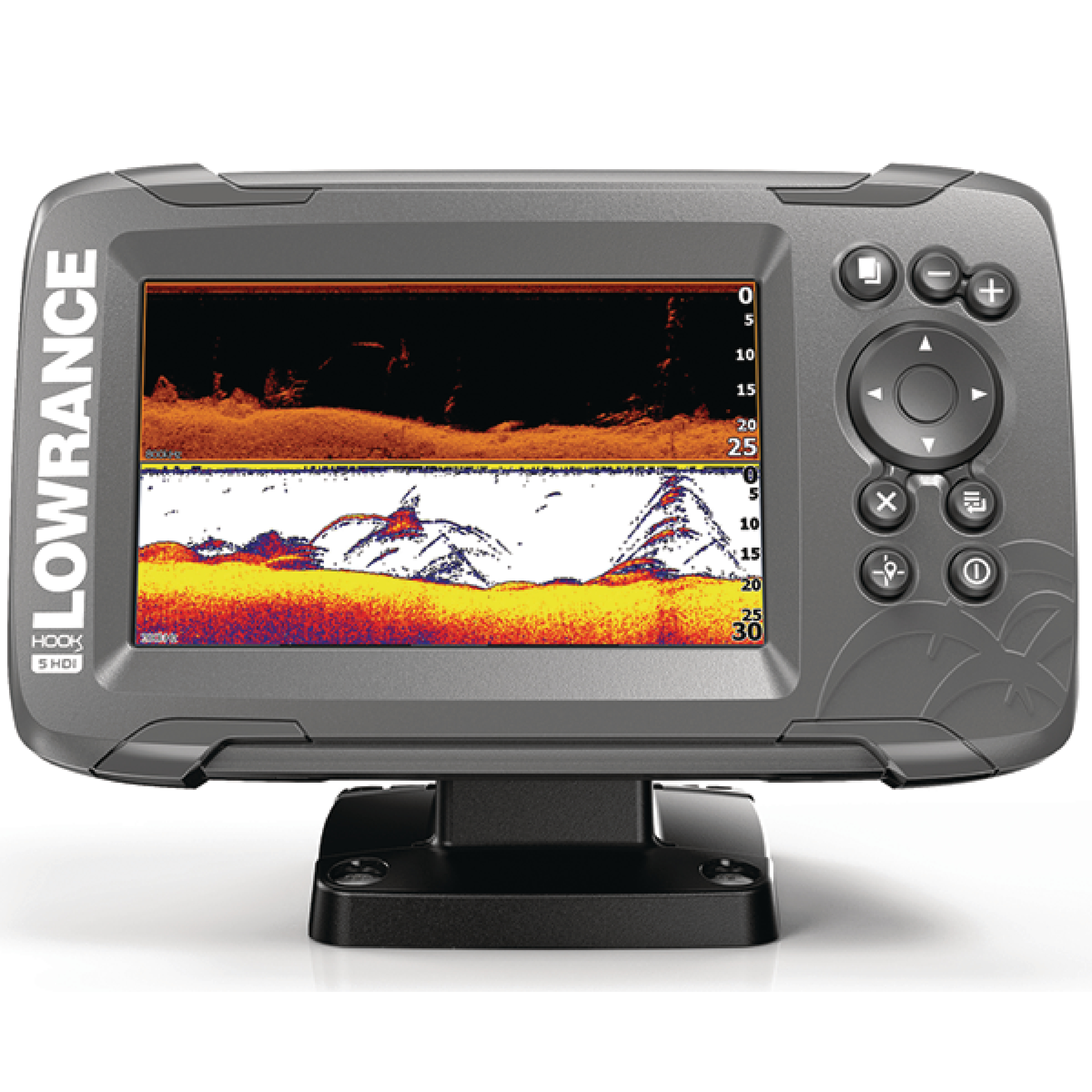 "Lowrance 000-14281-001 HOOK 5 Fishfinder with SplitShot Transducer, US Inland Maps, CHIRP Sonar, DownScan Imaging & 5"" Display"