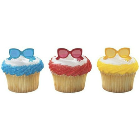 24 pc - Summer Fun Sunglasses Cupcake Picks - Summer Cupcakes