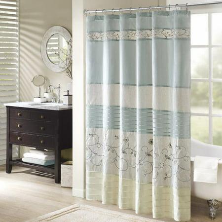 Monroe Embroidered Floral Shower Curtain Aqua