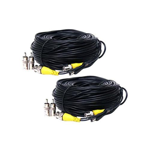 VideoSecu Surveillance 2 x 50ft Video Power Extension Cable Wire Cord for Security Camera with Free BNC RCA Adapter B3S