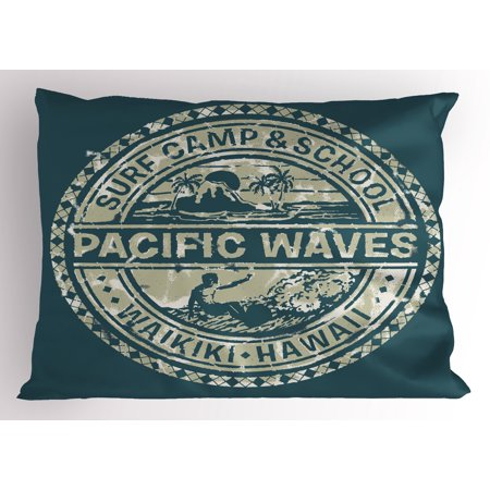 Logo Print Khaki (Modern Pillow Sham Pacific Waves Surf Camp and School Hawaii Logo Motif with Artsy Effects Design, Decorative Standard Size Printed Pillowcase, 26 X 20 Inches, Khaki Slate Blue, by Ambesonne)