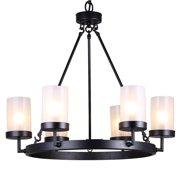 The Lighting Store Eliana 6-light Black Linear Glass Globe Chandelier