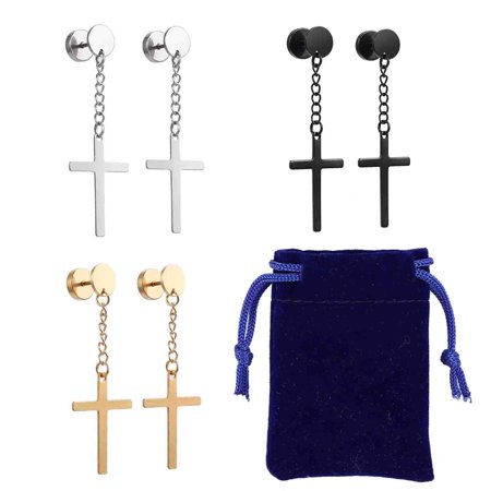 ESYNIC 3 Pairs Stainless Steel Circle Screw Stud Earring with Dangle Cross for Men -