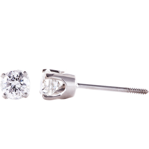 1/2 Carat T.W. Round Diamond 14kt White Gold Stud Earrings