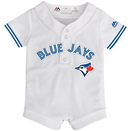 Toronto Blue Jays Majestic Newborn & Infant Home Cool Base Jersey Romper - White (Bass Romper)