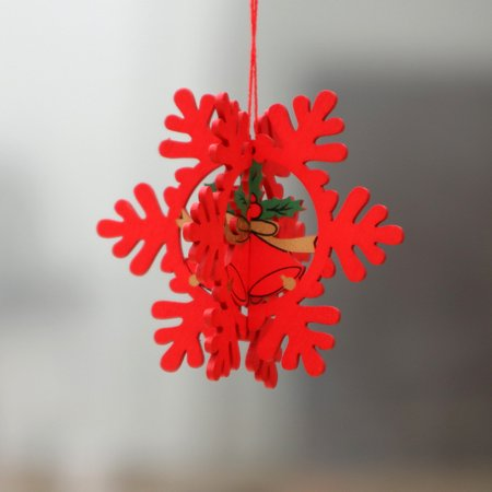 Christmas Decorations Wooden Christmas Hollow Christmas Tree Small Pendant Wooden Five-Pointed Star Bell Pendant Gifts Three-dimensional red snowflake ()