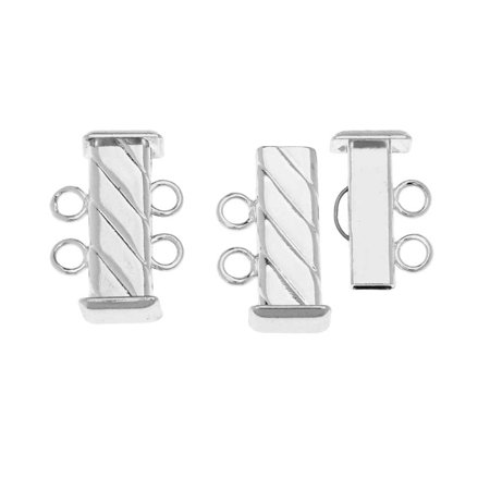 Slide Tube Clasps 2-Strand Fluted Rectangle 16.5mm Long, 2 Sets, Silver (Rectangle Clasp)