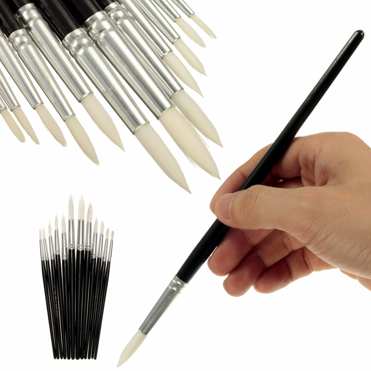 12Pcs Artist Art Round Paint Tip Brush Fine Detail Crafts Hobbies Painting Set Paint Brush Gift