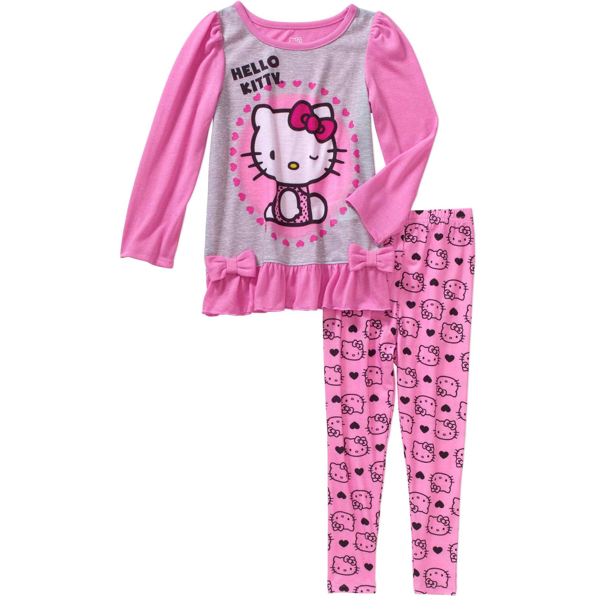 Hello Kitty Toddler Girls' Pajamas with Leggings 2-Piece Set