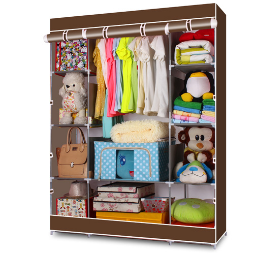 "Zimtown 65"" Portable Wardrobe Home Clothes Rack Shelves Closet Storage Organizer Coffee"