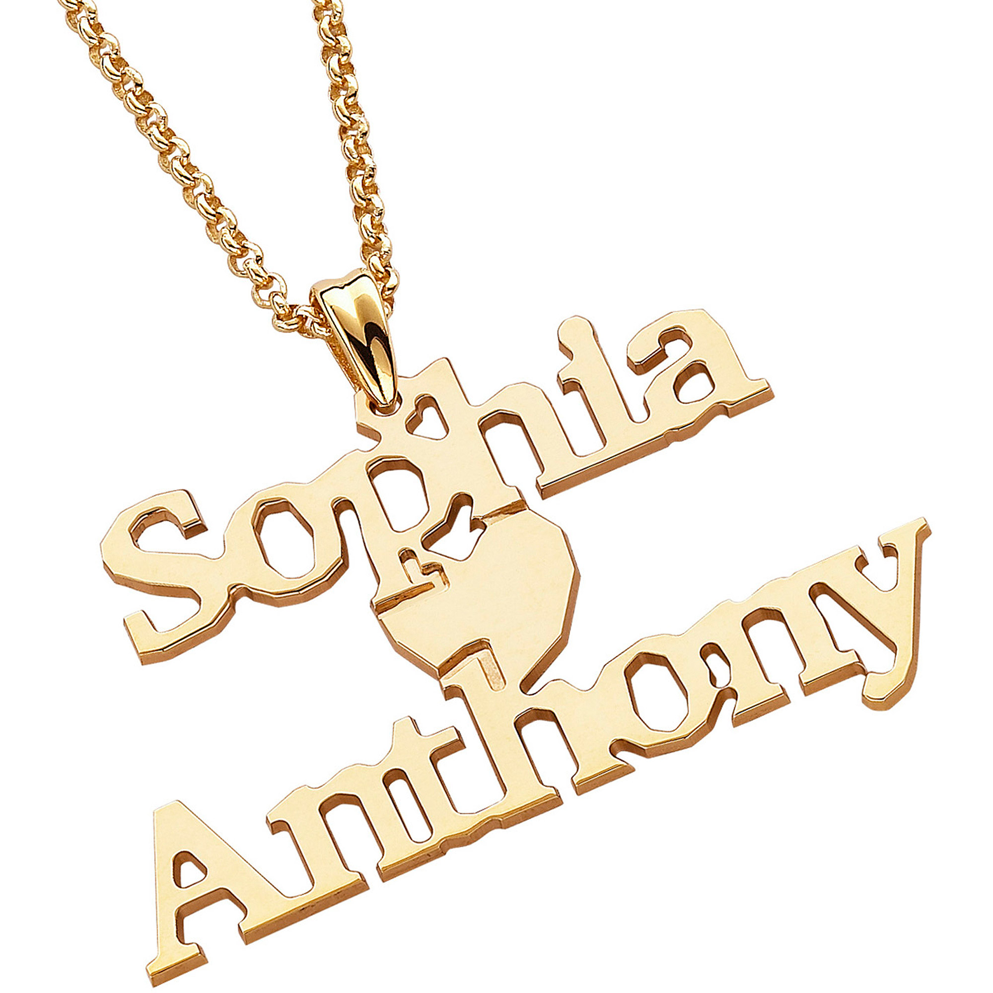 Personalized 14kt Gold over Sterling Silver Couples Name Necklace