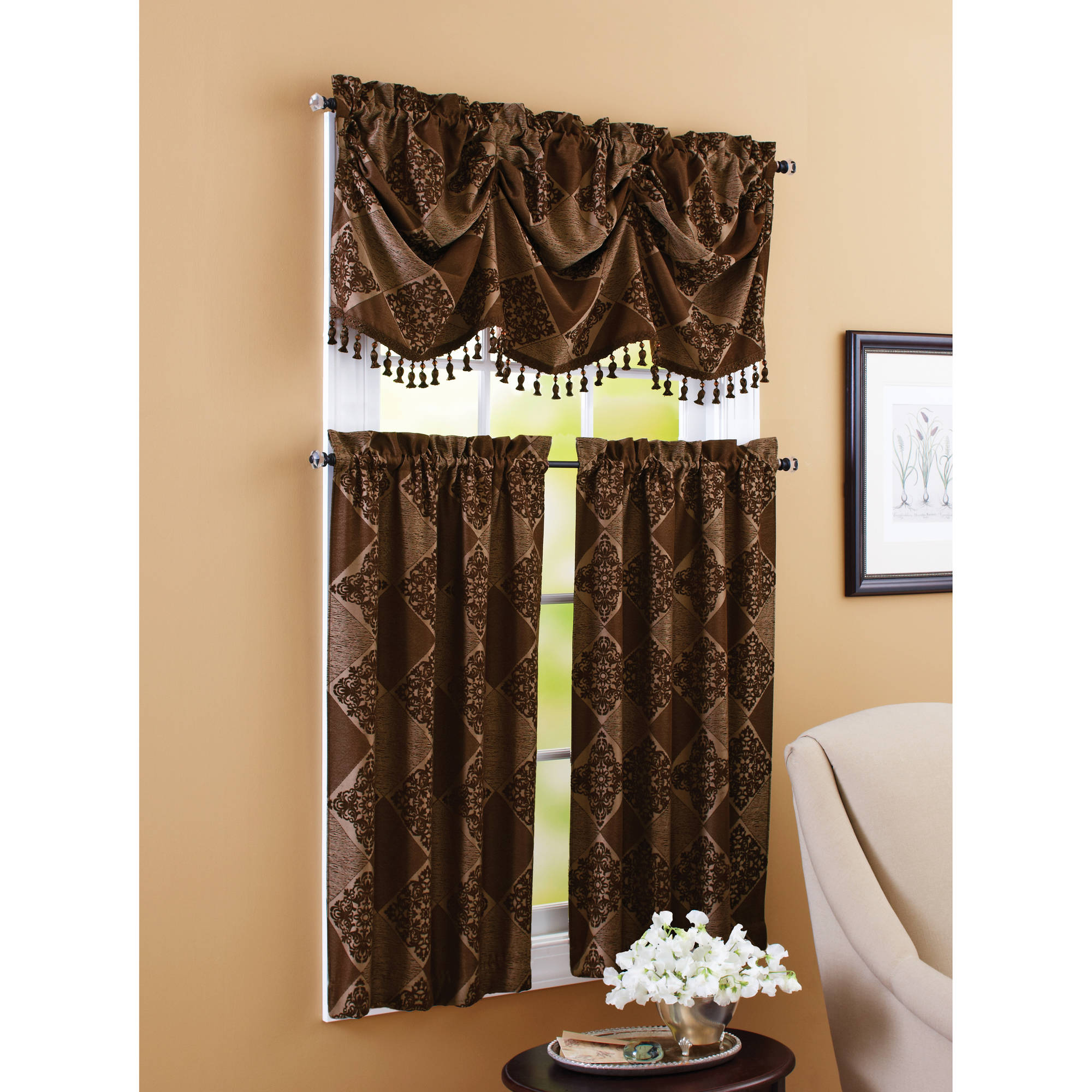 "Better Homes and Gardens Boucle 24"" Tier Curtain"