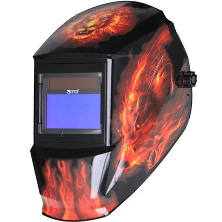 Antra™ Solar Power Auto Darkening Welding Helmet with AntFi X60-3 Shade 4/5-9/9-13 for TIG MIG MMA Plasma, Lion Flame