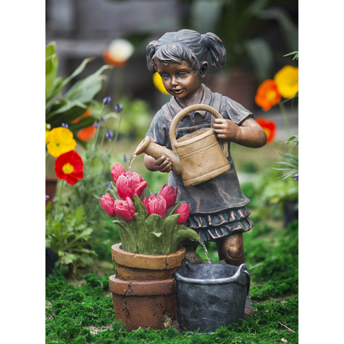 Girl Watering Flower Fountain by