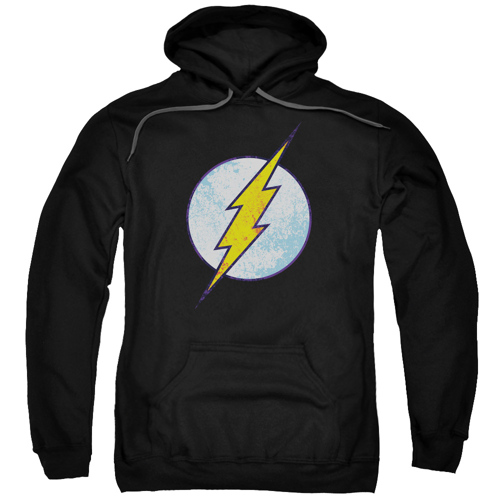 DC Comics Men's  Flash Neon Distress Logo Hooded Sweatshirt Black