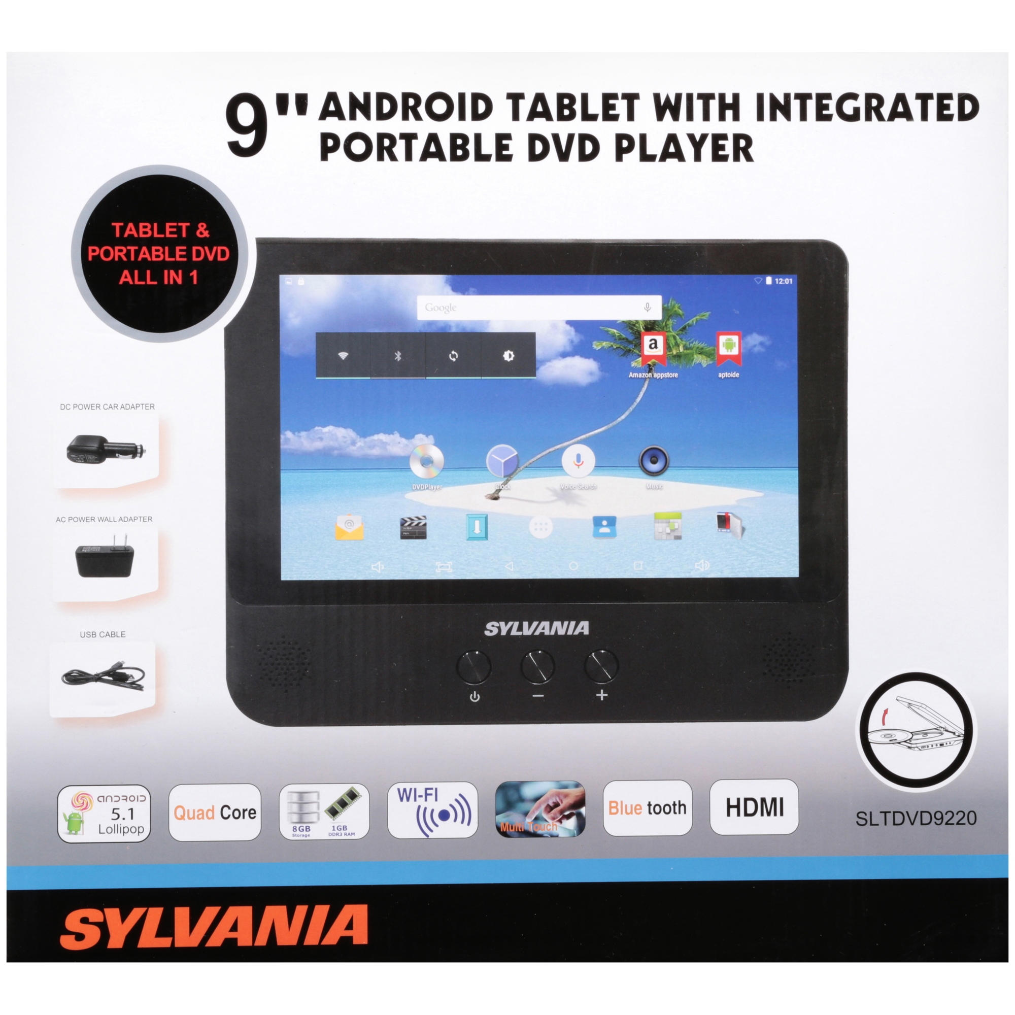 sylvania 9 androidtablet with integrated portable dvd player rh walmart com 7 Inch Android Tablet Android Tablet User Guide