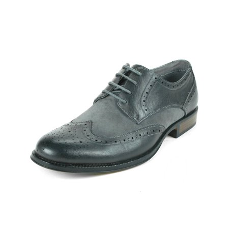 Perforated Wing Tip - Alpine Swiss Zurich Men's Wing Tip Dress Shoes Two Tone Brogue Lace Up Oxfords